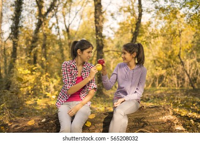 Beautiful teenage girls rests in the forest