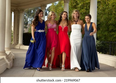 Beautiful Teenage Girls Walking in their Prom Dresses