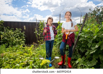 Beautiful teenage girls working in garden at sunny day