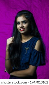 Beautiful teenager female model giving poses with different expressions