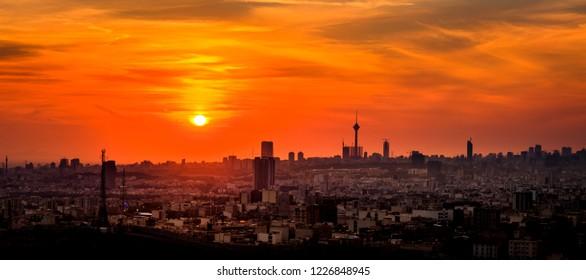 Beautiful Tehran skyline, Tehran-Iran cityscape at the sunset.