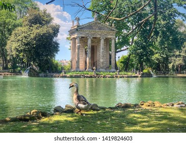 Beautiful Temple of Aesculapius In The Gardens Of The Villa Borghese Rome Italy