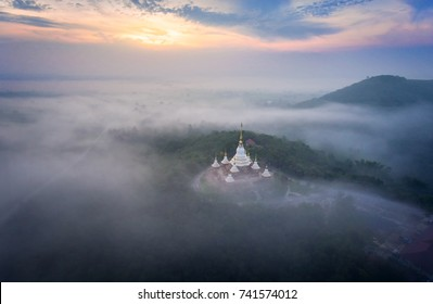 Beautiful temple in bird eye view, Wat Tham Sap Muet, Nakhon Ratchasima, Thailand