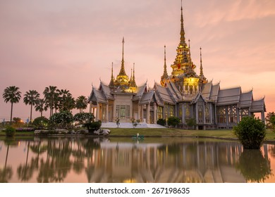 The beautiful temple made from marble and cement in sunset time at Sikhio Nakhon ratchsima, thailand (The public anyone access)