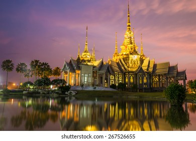 The beautiful temple made from marble and cement in twilight time at Sikhio Nakhon ratchsima, thailand (The public anyone access)