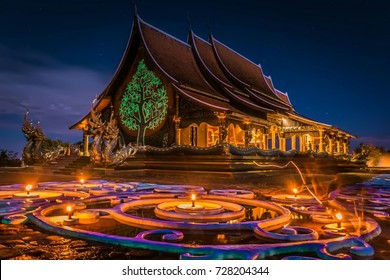 Beautiful temple with night sky .Amazing temple in thailand,Sirindhorn Wararam temple, Ubon Ratchathani,Thailand.
