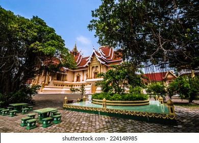 "Beautiful temple in ""Pha That Luang"" compound. Vientiane, Laos."