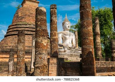 Beautiful temple Thailand name Sukhothai Historical Park, Sa-Sri 
temple during morning time