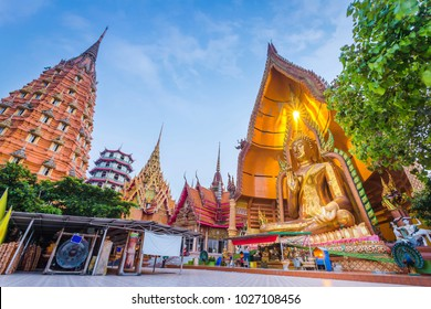 Beautiful temple in Thailand at wat tum sua temple , most popular temple in Kanchanaburi , Thailand
