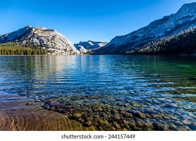 Beautiful Tenaya lake and mountains reflection, Yosemite National park
