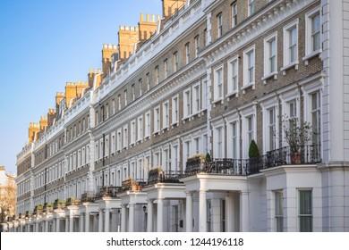 Beautiful terrace houses around Chelsea in London