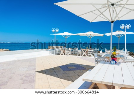 Beautiful terrace with sea view. Malia beach, Crete island, Greece.