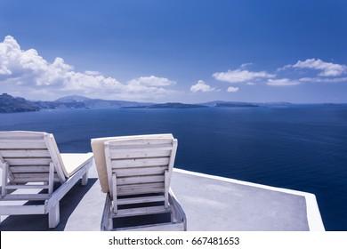 Beautiful terrace with sea view. Oia, Santorini island, Greece.