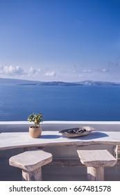 Beautiful terrace with sea view. Santorini island, Greece.