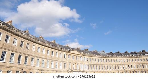 Beautiful Terraced Houses of a Georgian Era Crescent in Bath England