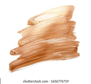 Beautiful textured golden strokes isolated on white background. Gold watercolor texture paint stain abstract. Shining brush stroke for you amazing design project