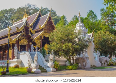 Beautiful Thai architecture Buddhist temple at Wat Ram Poeng (Tapotaram) temple, Chiang Mai, Thailand. Wat Rampoeng is one of famous place for studying meditation, not far from the Chiang Mai airport