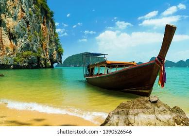 Beautiful Thai boat at Phang Nga Bay in Thailand, Asia