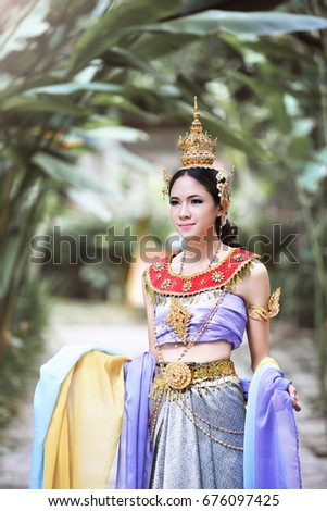 536a8c30c Beautiful Thai Girl Thai Traditional Costume Stock Photo (Edit Now ...