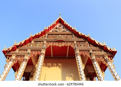 beautiful thai temple with blue sky