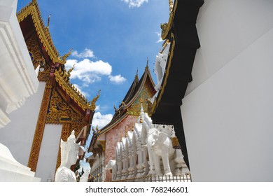 beautiful thai temple in front of clear blue sky