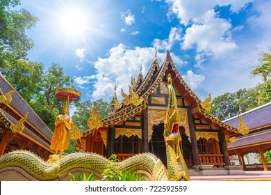 Beautiful Thai Temple with wooden handcraft art decoration in Chiangmai at Wat Ram Poeng (Tapotaram) Temple