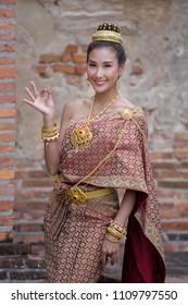 Beautiful Thai woman in national costum
