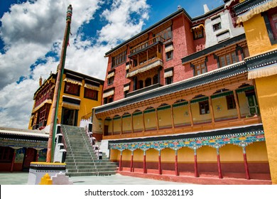 Beautiful Thiksey monastery ( Gompa ) temple under blue sky. India, Ladakh, Thiksey Monastery