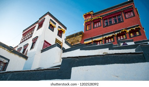 Beautiful Thiksey Monastery In Leh Ladakh. Thiksey is one of the ancient monasteries or gompa. The monastery houses Buddhist monks and is surrounded with traditional tibetan houses. Situated in India.