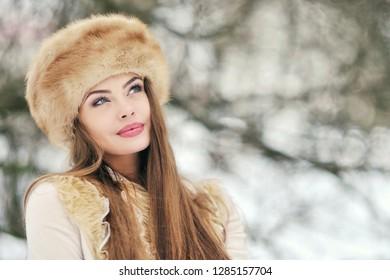 Beautiful thinking winter woman portrait