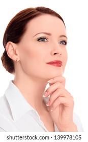 beautiful thoughtful woman, white background, copyspace