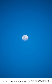 Beautiful three quater moon on blue sky background
