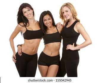 beautiful three women wearing fitness on white background