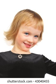 Beautiful three-year-old Caucasian girl  with diamond pedant on the neck portrait isolated on the white.