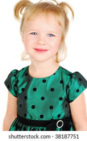 Beautiful three-year-old Caucasian girl portrait isolated on the white.
