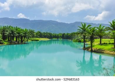 Beautiful Tiffany Blue Lake (Yunshanshui) and Baldcypress Garden in Hualien City, Taiwan