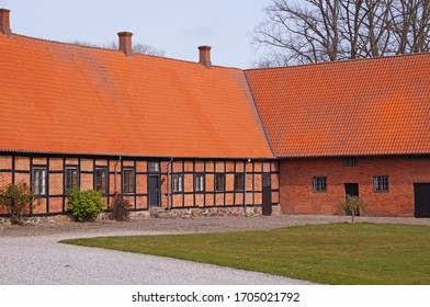 Beautiful timbered houses on a big farm om Zealand in Denmark