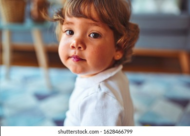 Beautiful toddler child girl playing with toys on the carpet
