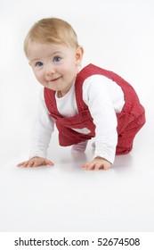 Beautiful toddler on white background.