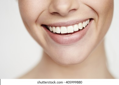 Beautiful toothy smile, close up