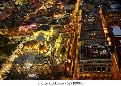 Beautiful top view of Bellas artes at night, Mexico-city, Mexico