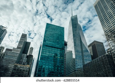 Beautiful top view of big buildings, Manhattan New York, USA. Downtown view with skyscrapers, financial district. Concept Architecture and Business background.