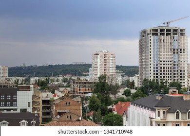 Beautiful top view to the central district of Chisinau. In this image is the Colina Puskin district.