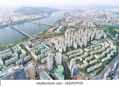 Beautiful top view of the Han River (Hangang) and modern residential buildings in Seoul, South Korea. Wonderful cityscape. Seoul is a popular tourist destination of Asia.