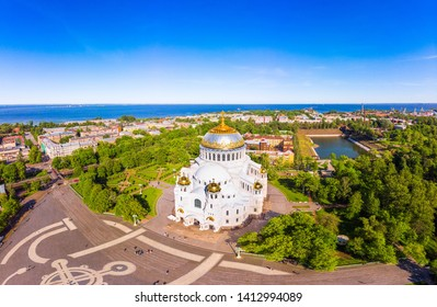 Beautiful top view of Kronshtadt Naval Cathedral of St. Nicholas on a sunny summer day. Built in 1903-1913 as the main church of Russian Navy and dedicated to all fallen seamen. St Petersburg Russia.