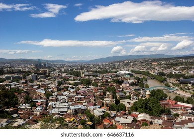 The beautiful top view on the city, a panorama, a city landscape, Tbilisi, Georgia
