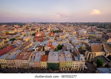 Beautiful top view with roofs of old European town. Lviv Ukraine.