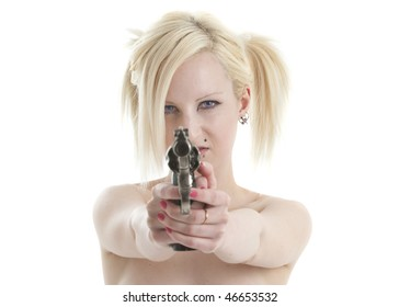 Beautiful topless blonde woman aiming large pistol and looking mean