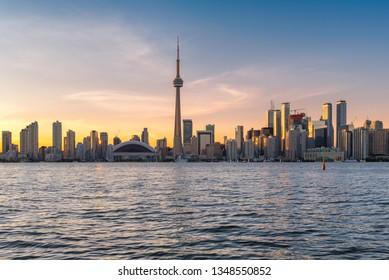 Beautiful Toronto city skyline at sunset  - Toronto, Ontario, Canada.