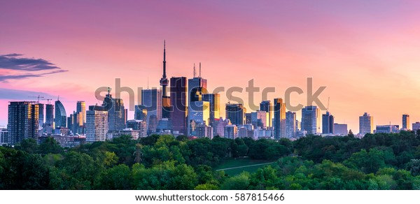 Beautiful Toronto city skyline at sunset.